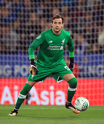 """Liverpool goalkeeper Danny Ward during the Carabao Cup, third round match at the King Power Stadium, Leicester. PRESS ASSOCIATION Photo. Picture date: Tuesday September 19, 2017. See PA story SOCCER Leicester. Photo credit should read: Mike Egerton/PA Wire. RESTRICTIONS: EDITORIAL USE ONLY No use with unauthorised audio, video, data, fixture lists, club/league logos or """"live"""" services. Online in-match use limited to 75 images, no video emulation. No use in betting, games or single club/league/player publications."""