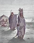Machine Colourized (AI) Abraham send Hagar and Ishmael away Genesis 21:14 From the book 'Bible Gallery' Illustrated by Gustave Dore with Memoir of Doré and Descriptive Letter-press by Talbot W. Chambers D.D. Published by Cassell & Company Limited in London and simultaneously by Mame in Tours, France in 1866