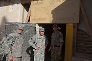 Mcc0027461 . Daily Telegraph..General David Petraeus , Commanding General of ISAF ,walking with 3 Para Commander Lt Col James Coates (right) during his visit to FOB Shahzad where the 3 Para Battlegroup are based in the northern Nad e Ali district of Helmand Province...Helmand 29 November 2010