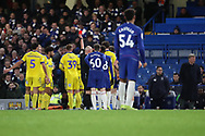 AFC Wimbledon midfielder Anthony Wordsworth (40) receives a red card and is sent off during the EFL Trophy match between U21 Chelsea and AFC Wimbledon at Stamford Bridge, London, England on 4 December 2018.