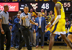 Dec 8, 2018; Morgantown, WV, USA; Pittsburgh Panthers head coach Jeff Capel reacts after being assessed a technical foul during the second half against the West Virginia Mountaineers at WVU Coliseum. Mandatory Credit: Ben Queen-USA TODAY Sports