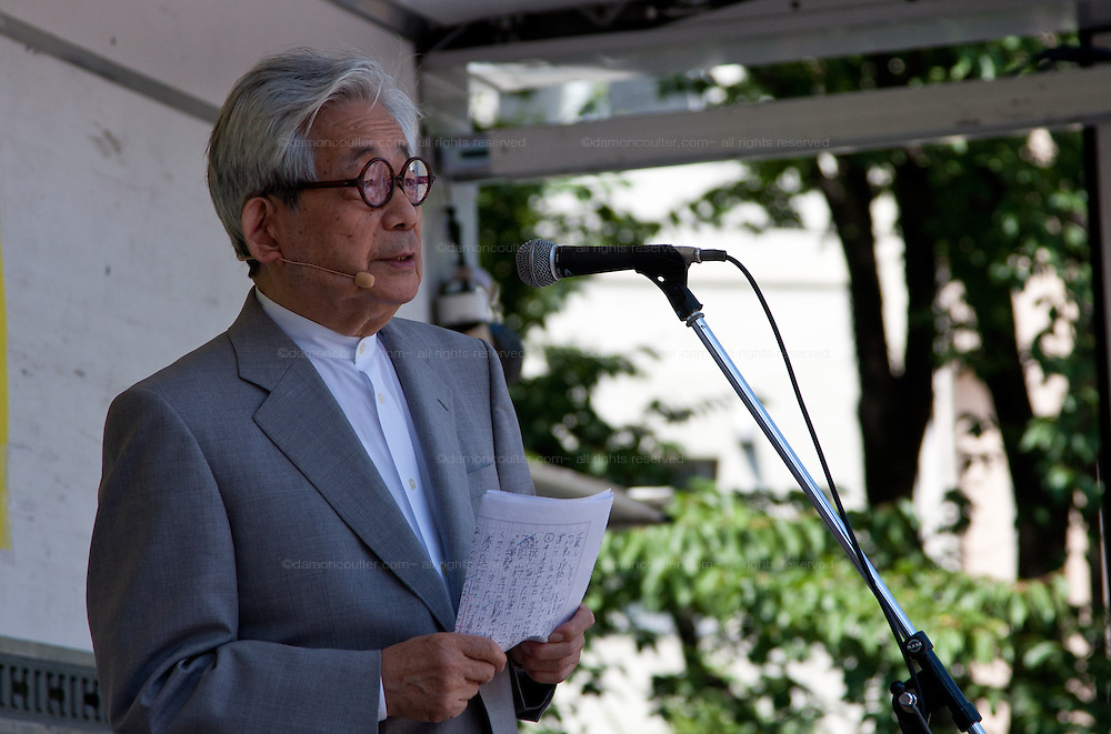 Nobel laureate and author, Kenzaburo Oe, speaks at an anti-nuclear protest in Shiba Park, Minato ward, Tokyo, Japan Sunday June 2nd 2013