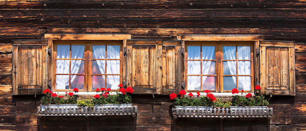 Typical Swiss style house in Serneus near Klosters in Graubunden region, Switzerland