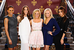 File photo dated 26/6/12 of the Spice Girls (from left to right) Melanie Brown (Mel B), Melanie Chisholm (Mel C), Geri Halliwell, Emma Bunton and Victoria Beckham, as Melanie Chisholm has said she cannot envision the girl group reforming unless all five members are involved.