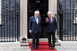 © Licensed to London News Pictures. 10/09/2021. London, UK. President of Chile SEBASTIAN PINERA meets British Primer Minister Boris Johnson at Downing Street for talks. Photo credit: Ray Tang/LNP
