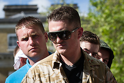 © Licensed to London News Pictures . FILE PICTURE DATED 27/05/2013 of EDL Leader STEPHEN YAXLEY-LENNON (aka Tommy Robinson ) at an EDL demonstration in London as today (8th October 2013) Yaxley-Lennon and co-leader Kevin Carroll have announced they are leaving the group . Photo credit : Joel Goodman/LNP