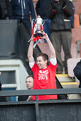 Edinburgh City crowned champions with Stewart Regan will be handing over the trophy to Edinburgh City's Douglas Gair. <br /> Edinburgh City 0 v 0 Gretna FC2008, Scottish Sun Lowland League game played at Meadowbank Stadium, 28/3/2015.