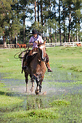 Young boy Gaucho cowboy Brazilian riding a horse through water. Working Gaucho Fazenda in Rio Grande do Sul, Brazil.