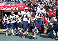 NASHVILLE, TN - NOVEMBER 11:  Quarterback Tom Brady #12 of the New England Patriots leads his team onto the field prior to a game against the Tennessee Titans at Nissan Stadium on November 11, 2018 in Nashville, Tennessee.  (Photo by Frederick Breedon/Getty Images)