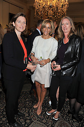Left to right, SARAH WHITEHEAD, EMILY MAITLIS and JUSTINE ROBERTS Founder and CEO of Mumsnet at a reception for Women in Media hosted by the Prime Minister David Cameron at 10 Downing Street, London on16th May 2013.