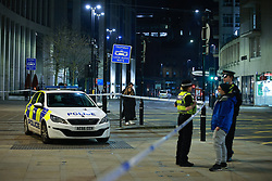 © Licensed to London News Pictures. 27/02/2021. Manchester , UK. Police respond to an incident in Manchester City Centre . Photo credit: Joel Goodman/LNP
