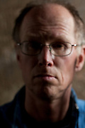 out of focus portrait of confused adult man