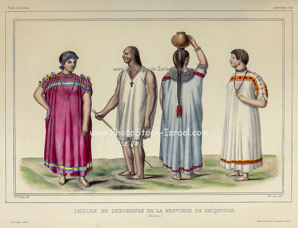 Indians of the province of Chiquitos of Hand sketched From the book 'Voyage dans l'Amérique Méridionale' [Journey to South America: (Brazil, the eastern republic of Uruguay, the Argentine Republic, Patagonia, the republic of Chile, the republic of Bolivia, the republic of Peru), executed during the years 1826 - 1833] 3rd volume By: Orbigny, Alcide Dessalines d', d'Orbigny, 1802-1857; Montagne, Jean François Camille, 1784-1866; Martius, Karl Friedrich Philipp von, 1794-1868 Published Paris :Chez Pitois-Levrault et c.e ... ;1835-1847