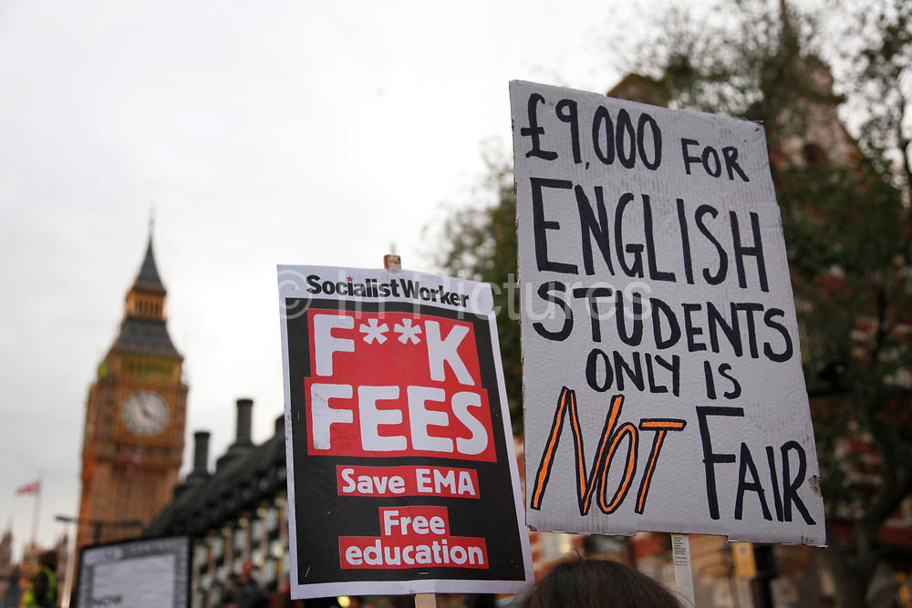 National student demonstration in London, protesting against tuition fees and the threat of top-up fees. Students from all over the UK gathered in central London for a third mass demo in protest of the coalition govenrnment's plans for education funding. As the majority of demonstrators were contained in Parliament Square, this official NUS rally was limited to a small number of protesters.