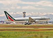 Alitalia Boeing 777-243(ER). Photographed at Malpensa airport, Milan, Italy