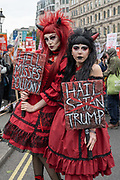 Two women dressed as red devils during a demonstration against U.S. President Donald Trumps state visit to the U.K on the 4th June 2019 in London in the United Kingdom. Day two of President Trumps three-day state visit, which includes lunch with the Queen, a State Banquet at Buckingham Palace as well as business meetings with the Prime Minister and the Duke of York, before travelling to Portsmouth to mark the 75th anniversary of the D-Day landings.
