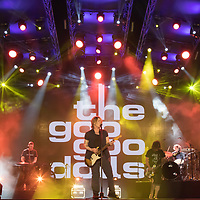 Lead vocalist and guitarist Johnny Rzeznik (C) and bass guitarist and vocalist Robby Takac (2nd R) perform with American rock band Goo Goo Dolls (formerly known as Sex Maggot) at the A38 Stage of Sziget Festival held in Budapest, Hungary on Aug. 13, 2018. ATTILA VOLGYI