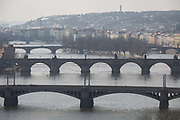 Views from Letna Park towards the Manesuv And Charles Bridges  which cross the Vltava river, on 18th March, 2018, in Prague, the Czech Republic. Like Rome, Prague is built on seven hills.