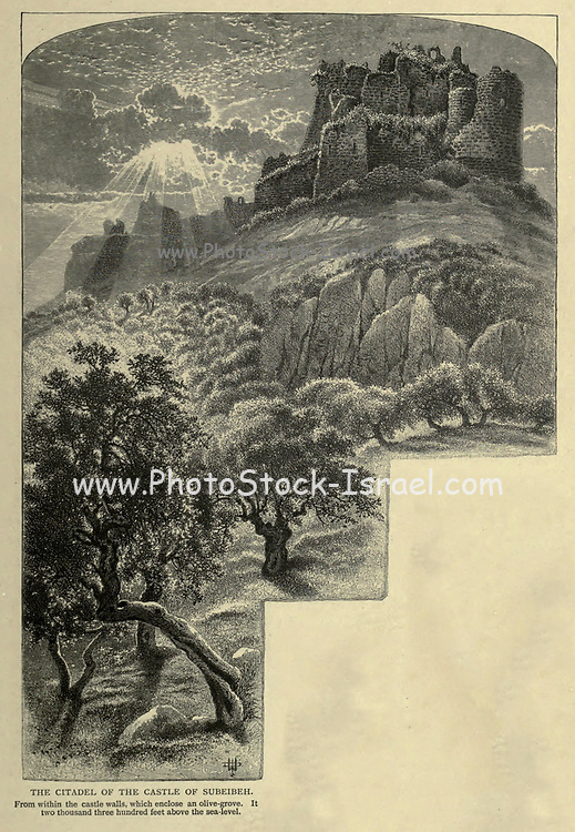 Engraving on Wood of The Citadel of the Castle of Subeibeh [Nimrod Fortress] from Picturesque Palestine, Sinai and Egypt by Wilson, Charles William, Sir, 1836-1905; Lane-Poole, Stanley, 1854-1931 Volume 2. Published in New York by D. Appleton in 1881-1884