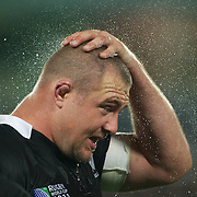 Tony Woodcock, New Zealand, cools off during the New Zealand V Australia Semi Final match at the IRB Rugby World Cup tournament, Eden Park, Auckland, New Zealand, 16th October 2011. Photo Tim Clayton...
