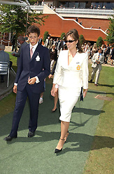 LADY ROSE INNES-KER daughter of the 10th Duke of Roxburghe and JAMES ROTHSCHILD at the 4th dfay of the 2005 Glorious Goodwood horseracing festival at Goodwood Racecourse, West Sussex on 29th July 2005.    <br />
