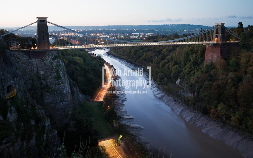 A dawn view of the Clifton Suspension Bridge spanning the Avon Gorge in Bristol.