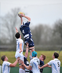 Sam Tiley - John Cabot of Bristol Academy U18 wins the ball in the line-out - Mandatory by-line: Paul Knight/JMP - 07/01/2017 - RUGBY - SGS Wise Campus - Bristol, England - Bristol Academy U18 v Exeter Chiefs U18 - Premiership U18 League