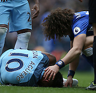 David Luiz of Chelsea  shows Sergio Aguero of Manchester City compassion after he was injured during the Premier League match at the Etihad Stadium, Manchester. Picture date: December 3rd, 2016. Pic Simon Bellis/Sportimage