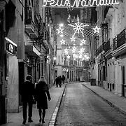 Seville street by night. Merry Christmas!, Seville, Spain (January 2007)