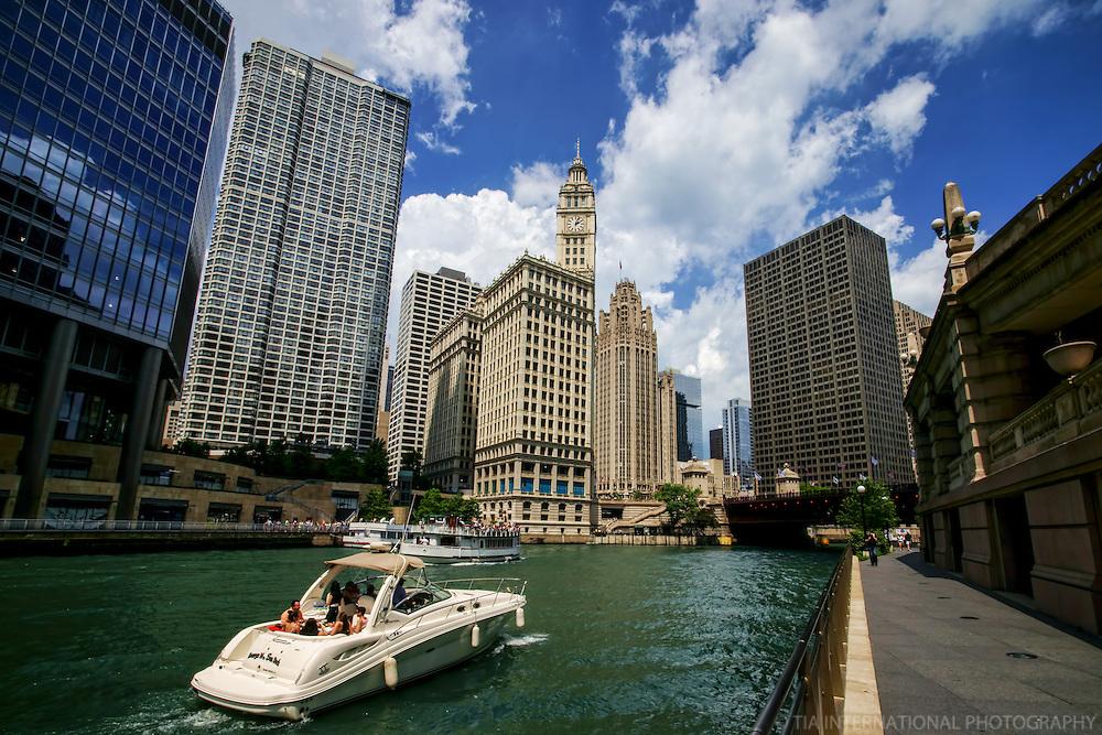 Chicago Riverwalk featuring Wrigley Building (2)