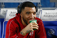 Watford forward Troy Deeney (9) enjoying his tea before The FA Cup 5th round match between Queens Park Rangers and Watford at the Loftus Road Stadium, London, England on 15 February 2019.
