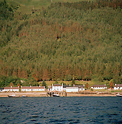 The village of Inverie, the only village in Knoydart, see accross the waters of the loch in the highlands of Scotland, UK