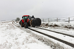 © Licensed to London News Pictures. 28/12/2020. Builth Wells, Powys, Wales, UK.  A tractor drives along a small road through a wintry landscape on the Mynydd Epynt moorland near Builth Wells in Powys, Wales, UK. Photo credit: Graham M. Lawrence/LNP