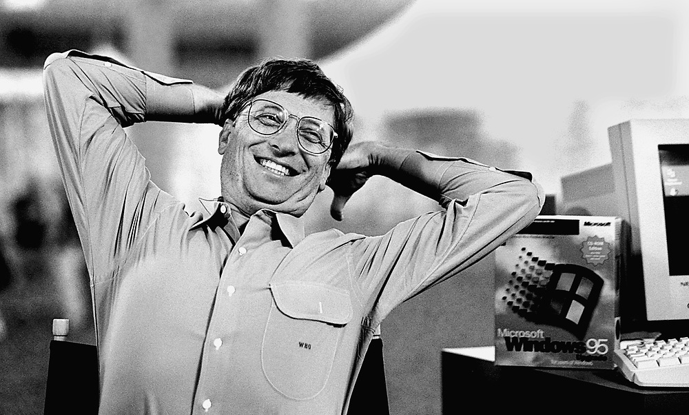 Microsoft's chairman Bill Gates relaxes between interviews the day before the Windows' 95 launch..