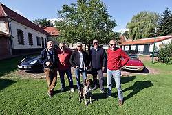 05 Sept 2019. St Denoeux, Pas de Calais, France.<br /> Messing about with cars. With Rob, Chris and Simon, Mark and Warwick with the Porsche Boxter, Jaguar F Type and Lotus Elan Sprint at Festina Lente Gîtes. Donut the dog puts in a modelling appearance.<br /> Photo©; Charlie Varley/varleypix.com