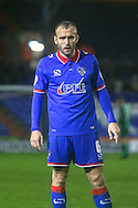 Oldham Athletic midfielder Liam Kelly  during the The FA Cup first round match between Oldham Athletic and Mansfield Town at Boundary Park, Oldham, England on 17 November 2015. Photo by Simon Davies.