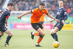 Falkirk's Jordan McGhee and Dundee United's Osman Sow. Falkirk 1 v 1 Dundee United, Scottish Championship game played 23/2/2019 at The Falkirk Stadium.
