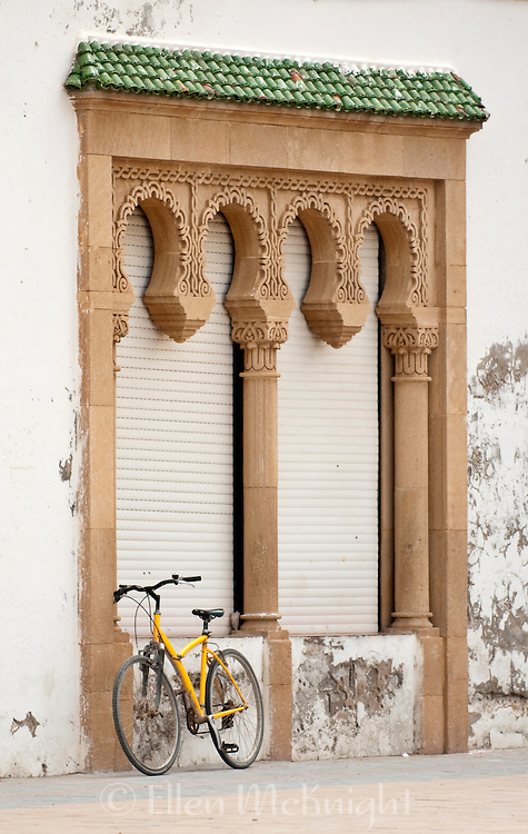 Building Facade with Bicycle in Essaouira, Morocco