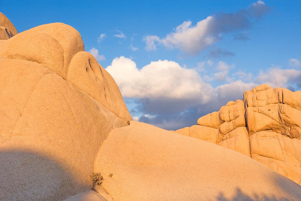 warm evening light on granite boulders in Joshua Tree Nation Park, CA.
