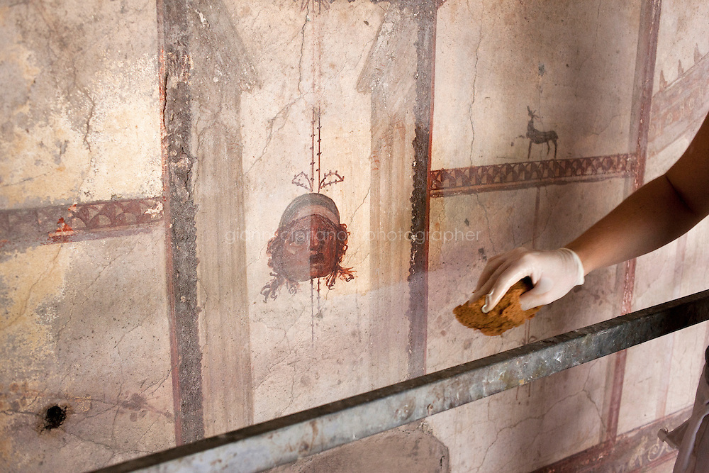 Herculaneum, Italy - 2 August, 2012:  Emmanuela Faenza, 30, collaborator restorer of the Herculaneum Conservatoin Project, cleans a fresco in the House of Argus in the archeological site of Herculaneum, Italy, on 2 August, 2012. <br /> <br /> The Herculaneum Conservation Project (HCP) is a public/private initiative launched in 2001 for the conservation and enhancement of the archaeological site of Herculaneum. This ancient Roman city in Italy was destroyed and buried along with Pompeii by the volcanic eruption of Mount Vesuvius in AD 79. It has a history of excavation dating back to the early eighteenth century.<br /> The project was set up by David W. Packard of the Packard Humanities Institute, together with Pietro Giovanni Guzzo of the Soprintendenza Archeologica di Pompei, to take the measures necessary to provide a response to the serious condition of the site after decades of neglect.