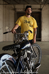 Andrew Minervini with his 1948 Harley Davidson 80 inch UL Flathead after the Congregation Show. Charlotte, NC. USA. Sunday April 15, 2018. Photography ©2018 Michael Lichter.