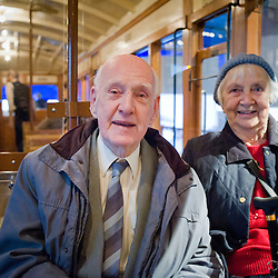 Married for 58 years Peter and Doris Owen used to ride on the Overhead Railway in Liverpool. They had fond memories of it and enjoyed being on the carriage at the Musem of Liverpool.Doris used to take the tram to work which ran under the overhead railway. Peter used to ride the overhead to work and loved the beautiful sweep of the railway as it went round the Albert Dock.