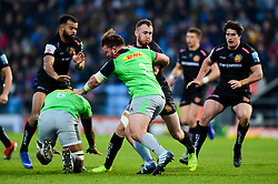 Max Bodilly of Exeter Braves is tackled by Rob Buchanan  - Mandatory by-line: Ryan Hiscott/JMP - 01/04/2019 - RUGBY - Sandy Park Stadium - Exeter, England - Exeter Braves v Harlequins - Premiership Rugby Shield