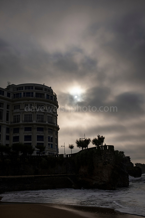 Dark light on the Grand Plage, Biarritz, France