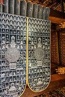 reclining buddha feet with 108 auspicious symbols of Buddha Wat Pho temple Bangkok Thailand