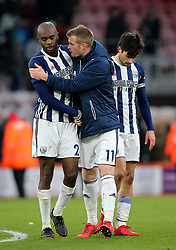 West Bromwich Albion's Allan Nyom (left), West Bromwich Albion's Claudio Yacob (right) and West Bromwich Albion's Chris Brunt (centre) after the final whistle during the Premier League match at the Vitality Stadium, Bournemouth.