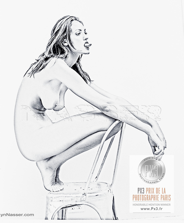 2020 PX3 Paris Awards - Winner - Nude Fine Art Honourable Mention. <br /> <br /> vLXXXVII - XXIV - LXIX - LXX TALL GIRL PLATINUM, The Metal Chair, New York.<br /> Shot in the studio with a Pentax 6x7 film camera and Kodak Tri-X 220 Film Pushed Process Plus 1.5 for Bromide Gallerie Paper.