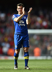 Everton's Leighton Baines applauds the away fans at full time