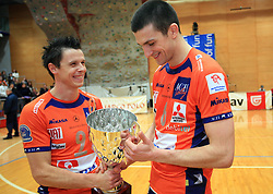 Matija Plesko and Mitja Gasparini at finals of Slovenian volleyball cup between OK ACH Volley and OK Salonit Anhovo Kanal, on December 27, 2008, in Nova Gorica, Slovenia. ACH Volley won 3:2.(Photo by Vid Ponikvar / SportIda).