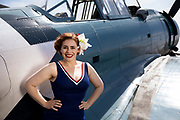 Living history pinup model with SBD Dauntless.